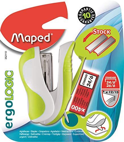 Maped Ergologic - Grapadora para grapas 24/6 o 26/6, reserva de grapas y quitagrapas integradas, incluye caja de 400 grapas,...
