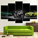 GSDFSD Pintura en Lienzo artística Decorativa Coches de escuadrón de Bicicletas M4 Impresión de 5 Piezas Material Tejido no Tejido Impresión Artística Imagen Gráfica Decoracion de Pared