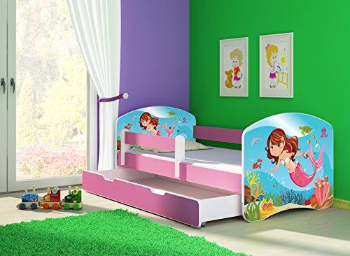 Clamaro 'Fantasia Pink' 160 x 80 Kinderbett Set inkl. Matratze, Lattenrost und mit Bettkasten Schublade, mit verstellbarem Rausfallschutz und Kantenschutzleisten, Design: 09 Meerjungrau