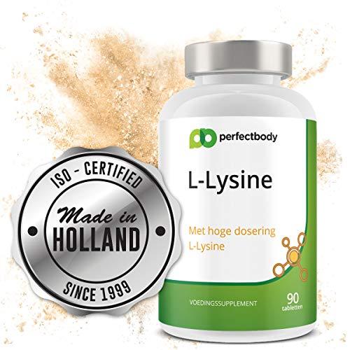 L-Lysine 1000 Mg - 90 L-Lysine Tabletten | Essentieel Aminozuur | Verhoogt Weerstand | PerfectBody.nl [90 Tabletten] PerfectBody.nl