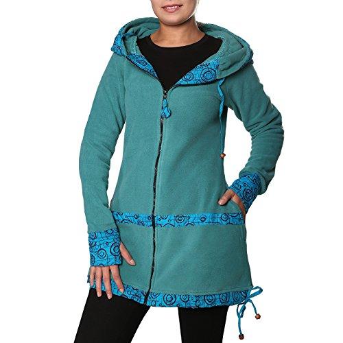 KUNST UND MAGIE kurzer Damenmantel aus Fleece mit Kapuze, Größe Damen:44, Farbe:Petrol/Türkis