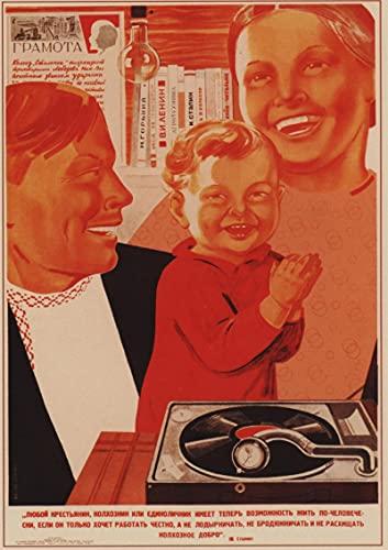 longgege Impresión De Lienzo Carteles con Elementos Soviéticos, Pinturas Art Déco En Las Paredes De La Sala De Estar Y El Dormitorio, Y Murales De Bares Familiares 50X70Cm Sin Marco,A-4933