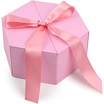 Johouse Gift Box, 8 inches Large Pink Gift Box, with Cover Ribbon and Lafite for Wedding, Christmas Gifts, Valentines Day …