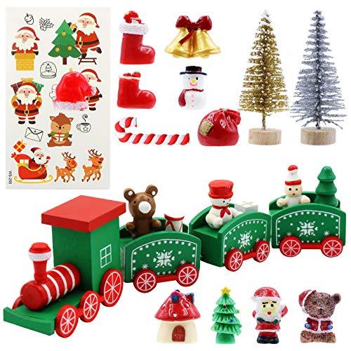 POPMISOLER Miniature Christmas Figurines, 15 Pcs Christmas Miniature Ornaments Kit DIY Fairy Garden Miniature Resin Ornaments for Christmas Decoration