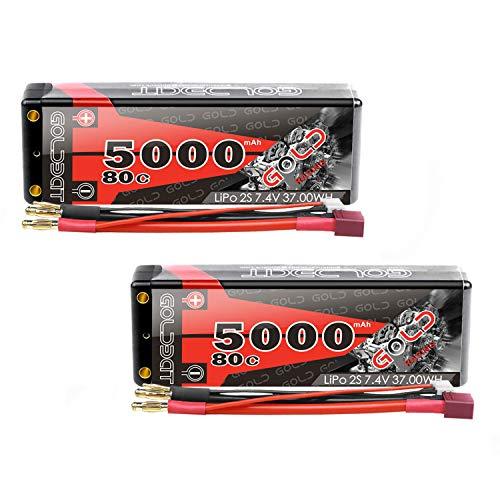 GOLDBAT Lipo RC Batterie 5000mAh 80C 2S 7,4V RC Akku mit Deans-T Stecker für RC Auto Boot Truck LKW Truggy RC Hobby(2 Packs) (2 Pack)