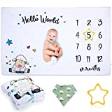 Baby Blanket Monthly Milestone for Baby Boy and Girl, Organic Baby Months Blanket Shower Gift, Photo Blanket for Newborn Large 60x40 Extra Soft, Includes Bandana Drool Bib and Frame Baby Age Blankets