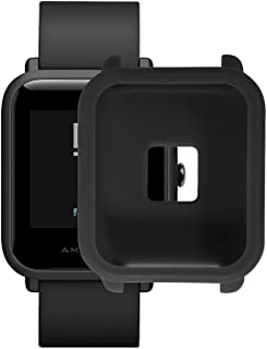 XBERSTAR Amazfit Bip 保護ケース カバー シリコン製 保護用 ソフトカバー Xiaomiシャオミ Amazfitスマートウォッチ対応 (ブラック)