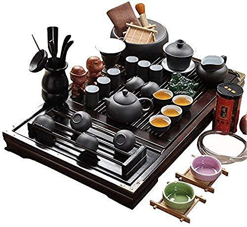 XiYou Chino Yixing Pure Black Zisha Tea Seteramic Kung Fu Juego de té de Arcilla púrpura con Bandeja de té de Madera, para el hogar, la Oficina, el Regalo