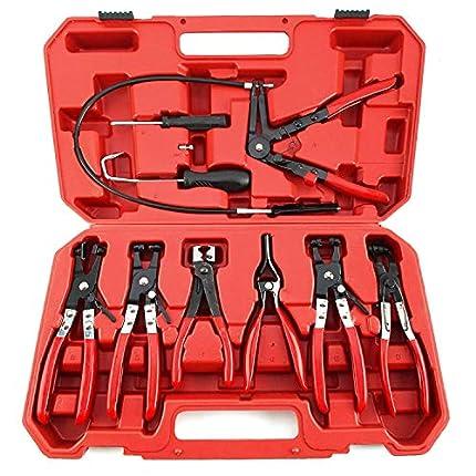 9 piezas automotriz herramienta de aceite combustible abrazadera de manguera conjunto de alicates mandíbula giratoria banda plana angulada herramientas automáticas