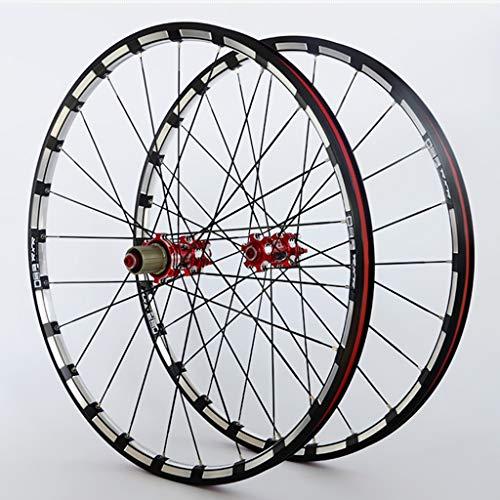 Set Ruote Bici 26/27.5/29' MTB Cerchi in Lega CNC A Doppia Parete Mozzo in Carbonio Freno A Disco 24H QR Cuscinetto Sigillato NBK per Cassette A 7-11 velocità (Color : Red hub, Size : 26')