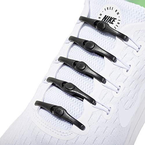 Hickies Nouveau 2.0 Lacets élastiques à taille unique - Noir (14 unités, s'adapte à toutes les chaussures)