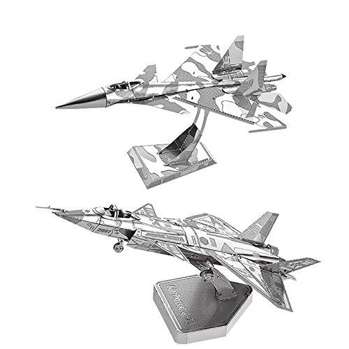 MOTU 2pcs 3D Metal Puzzle Su34 Fighter + Air Force J20 Model Kits D21120-27 DIY 3D Laser Cut Jigsaw Toys
