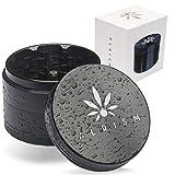 ALRISM - Grinder de cerámica de 4 Piezas - Incluye Funda, Boquilla con Filtro de Vidrio, Pincel y rasqueta para Polen - 63mm de diámetro - Negro