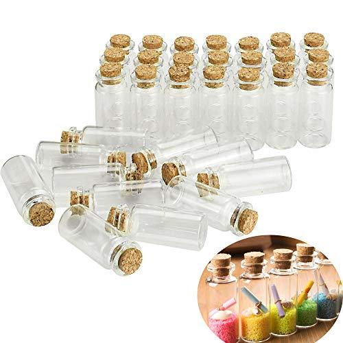 DECARETA 40 Pezzi Bottiglie Vetro Piccole10ml Mini Bottigliette in Vetro Con Tappo in Sughero Vasetti Vetro Piccoli Barattoli per Matrimoni, Decorazioni, Artigianato Fai-da-te