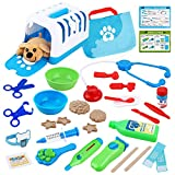 D-FantiX Vet Kit for Kids, 34Pcs Toy Veterinarian Kit Pretend Dog Doctor Care Pet Vet Playset Examine & Treat Feeding & Grooming Play Set With Stuffed Puppy Cage Clinic Toys for Toddler Girls and Boys