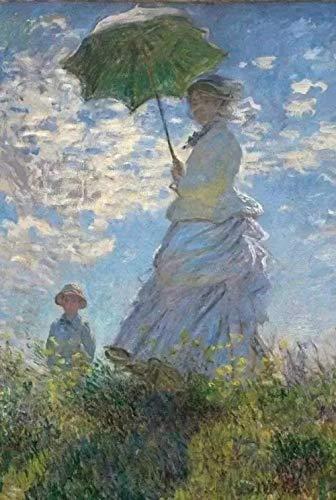 Lsdakoop Malen nach Zahlen DIY Acrylmalerei-Kit für Kinder & Erwachsene mit 3 Pinseln & Hellen Farben - Frau mit einem Sonnenschirm-Madame Monet und ihrem Sohn von Monet