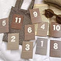 2021ミニカレンダーカード12枚ミニマリストクリエイティブブックマークポストカード装飾カード携帯電話ケーススモールカード
