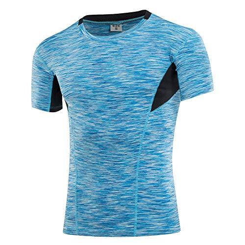 Heqianqian-Sports Camiseta de compresión para Hombre, Manga Corta, de compresión, para Ciclismo, Entrenamiento, Fitness, 5 Colores para Correr, Entrenamiento, Gimnasio, poliéster, Azul, Small