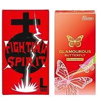 グラマラスバタフライ ストロベリー 6個入 + FIGHTING SPIRIT (ファイティングスピリット) コンドーム Lサイズ 12個入
