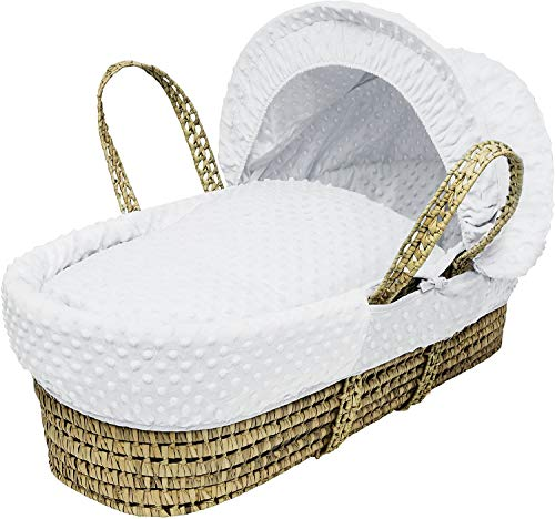 HTTER Waffle Wicker Moses Basket, Grey,White Dimple