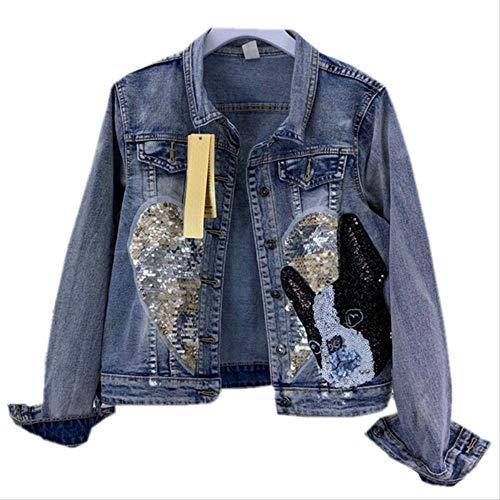 QXNZY Jacken Mode Handgefertigte Pailletten Jean Jacke Damen Einreiher Jeansjacke Harajuku Loose Coat XXL Blau