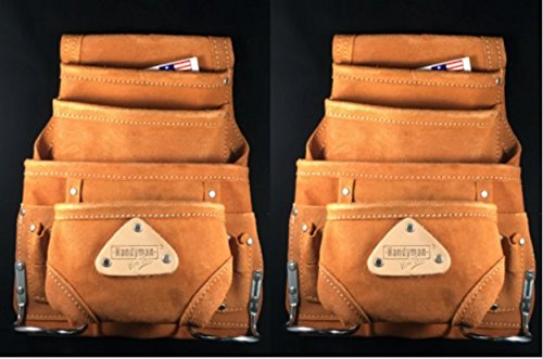 10 Pocket LEATHER tool bag Waist Belt Pouch with Hammer