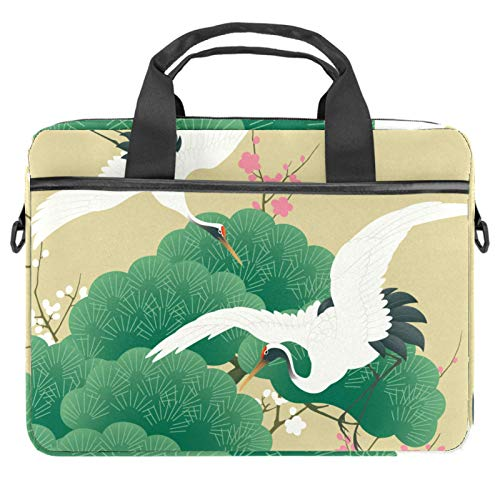 13.4-14.5 inch Laptop Bag Case with Shoulder Strap, Computer Sleeve Cover Compatible All Computers Messenger Bag with Accessory Pocket Vintage Japanese Crane Bird