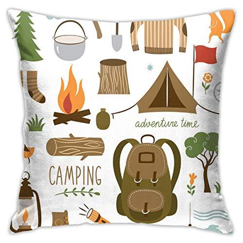 Taie d'oreiller Aventure Équipement de Camping Sac de Couchage Bottes Feu de Camp Pelle Hachette Journal Oeuvre Multicolore Housse de Coussin