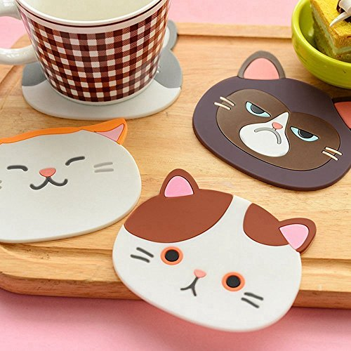 Top819 Trade Set of 6 Cute Cartoon Cat Cup Pad Silicone Coaster Mug Rubber Mats Faces for Wine,Glass,Tea,Drink,Coffee,Beer,Home Gift Idea,Home Kitchen Decor