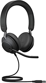 Jabra Evolve2 40 Headset – Noise Cancelling UC Certified Stereo Headphones with 3 Microphone Call Technology – USB-A Cable...