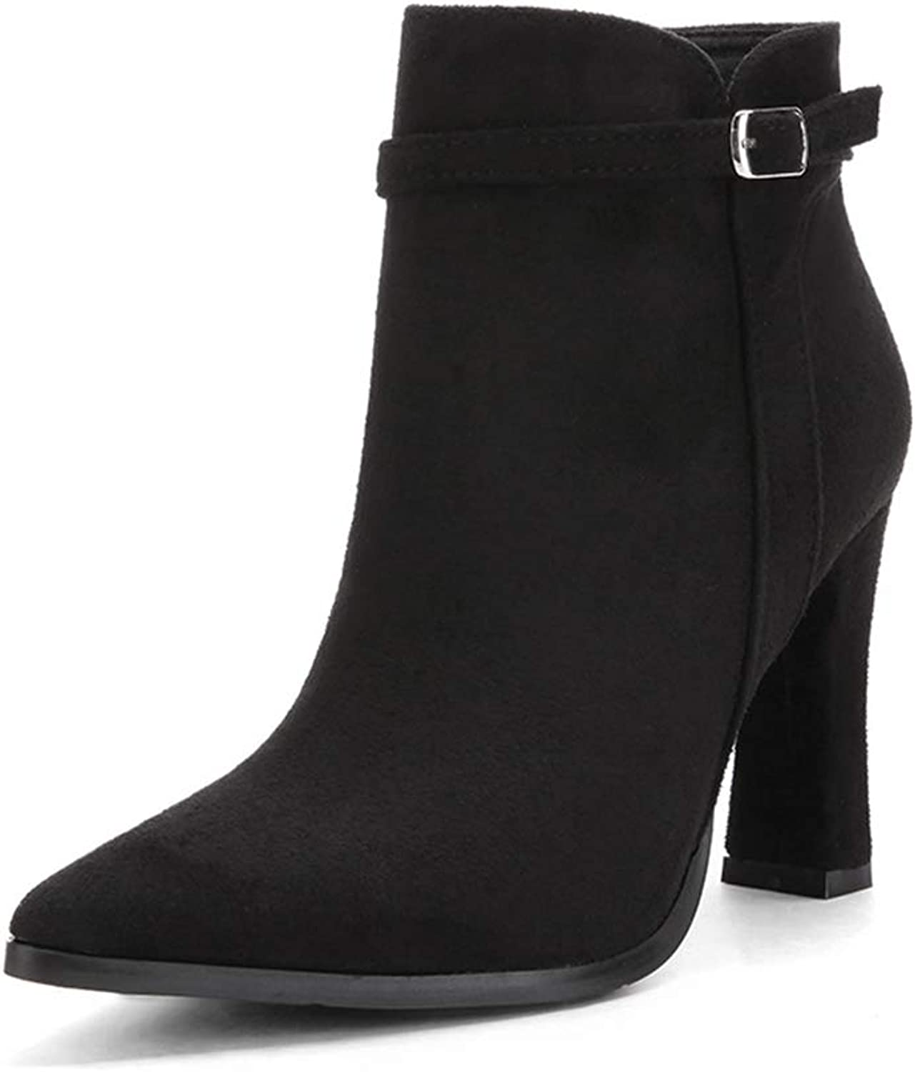 ZX Boots Fashion Wild Female Booties Pointed Thick with high Heel Side Zipper Belt Buckle