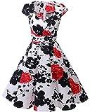 Bbonlinedress Vestido Corto Mujer Retro Años 50 Vintage Escote En Pico Red Flower XS...