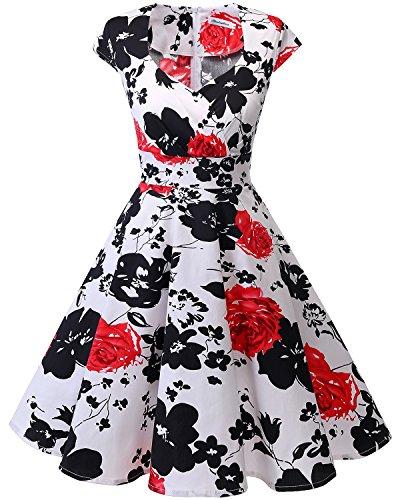 bbonlinedress Frauen Kurz 50er Jahre Retro Vintage Cocktail Party Swing Kleider - Red Flower, size: Mittel /M