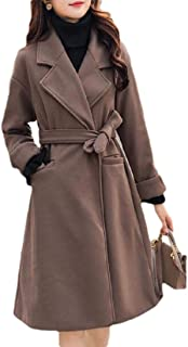 Womens Elegant Winter Woolen Lapel Long Maxi Pea Trench Coat