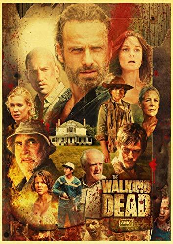 WDQFANGYI Serie De TV Americana The Walking Dead Póster Retro Carteles De Pared E Impresiones Hogar Habitación Pared Arte Póster Imágenes 40X50Cm (FLL9035)