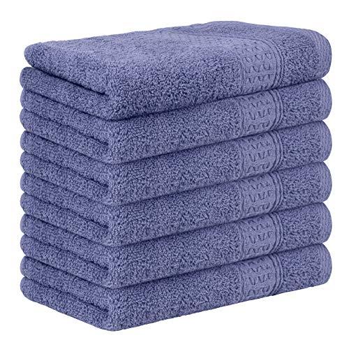 Yoofoss Juego de 6 Piezas Toalla de Mano 33x50 cm Premium 100% Algodón Toallas Invitados Toallas de baño Livianas y Altamente Absorbentes de Lujo para el hogar los baños el Gimnasio púrpura