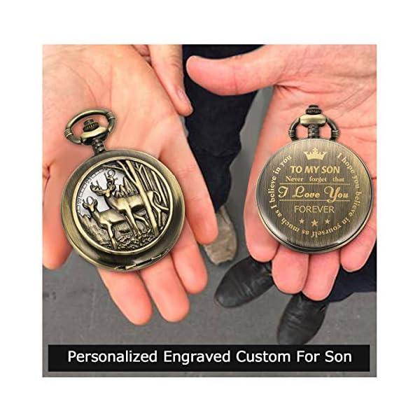 SIBOSUN Personalized Pocket Watch Engraved Back Case Birthday Men To My Son Deer Reindeer Quartz