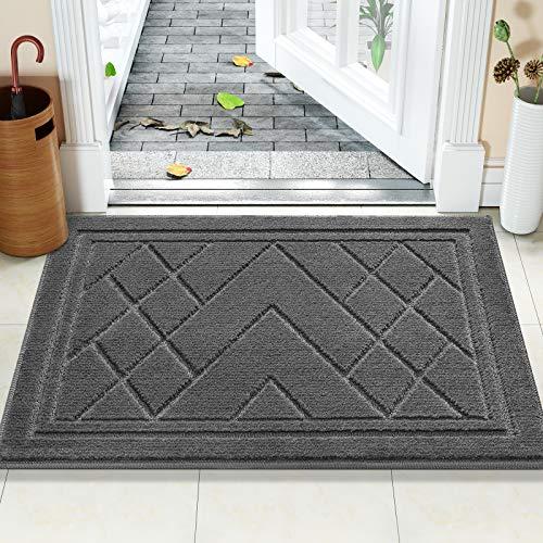 Color&Geometry Felpudo Entrada Casa Alfombra para Puertal Felpudos Atrapar Suciedad Interior y Exterior Alfombras Lavable Absorbente 80 x 120 cm, Gris Oscuro