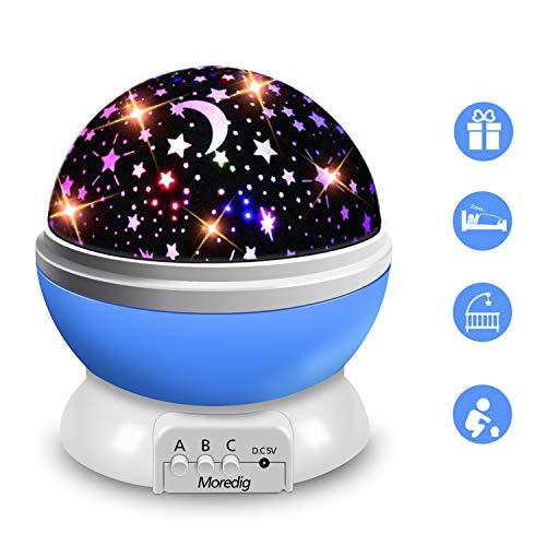 Moredig Sternenhimmel Projektor Nachtlicht, Baby Nachttischlampe 360° Rotierend LED Sternenlicht Projektionslampe mit 8 Lichter, Halloween, Weihnachten Geschenk, Kind Schlafzimmer Dekoration-Blau