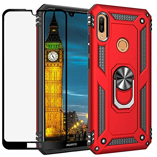 YaHan for Huawei Honor 8A/Honor Play 8A/Y6 2019 Case,360 Degree Rotating Ring Kickstand Hybrid Heavy Duty Dual Layer Shockproof Defender Hard Back Case Cover with Tempered Glass Screen Protector,Red