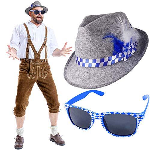 German Trendseller® - Bayern Hut - Deluxe + Gratis Sonnenbrille + ┃ NEU ┃ Oktoberfest ┃ Filzhut mit Federn + Brille ┃ Blau / Weiß ┃ 2 teiliges - Set ┃ 1 Set