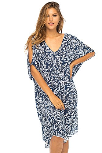 Back From Bali Womens Cold Shoulder Dress Beach Cover Up Casual Short Sleeve Floral Tunic Sundress Navy