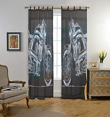 ALAZA Bedroom Decor Living Room Decorations Retro Motorcycle Pattern Print Tulle Polyester Door Window Gauze/Sheer Curtain Drape Two Panels Set 55x78 inch,Set of 2