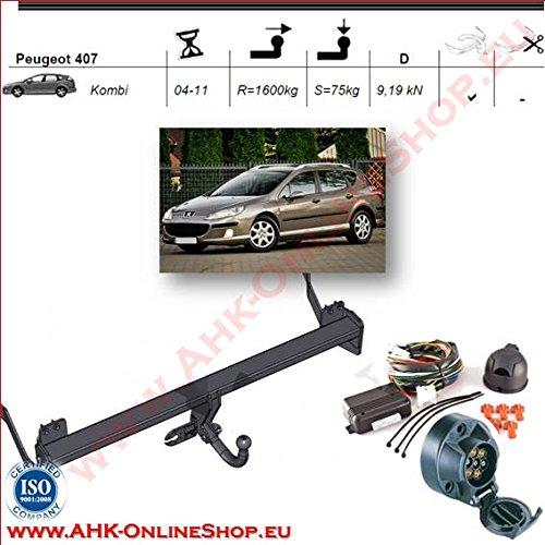 Enganche de remolque (con haz 7pines | Peugeot 407de 2004a 2008Break | cuello de cisne desmontable con herramienta