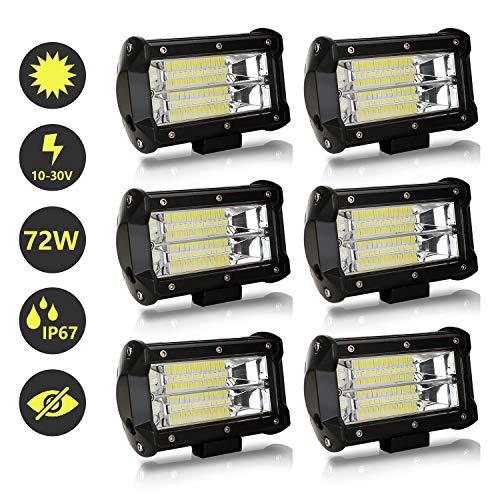 Hengda LED Arbeitsscheinwerfer, 6x 72W LED Zusatzscheinwerfer 12V 24V 27600LM Scheinwerfer für Traktor, Offroad, SUV, ATV, Auto Rückfahrscheinwerfer IP67, 6500K
