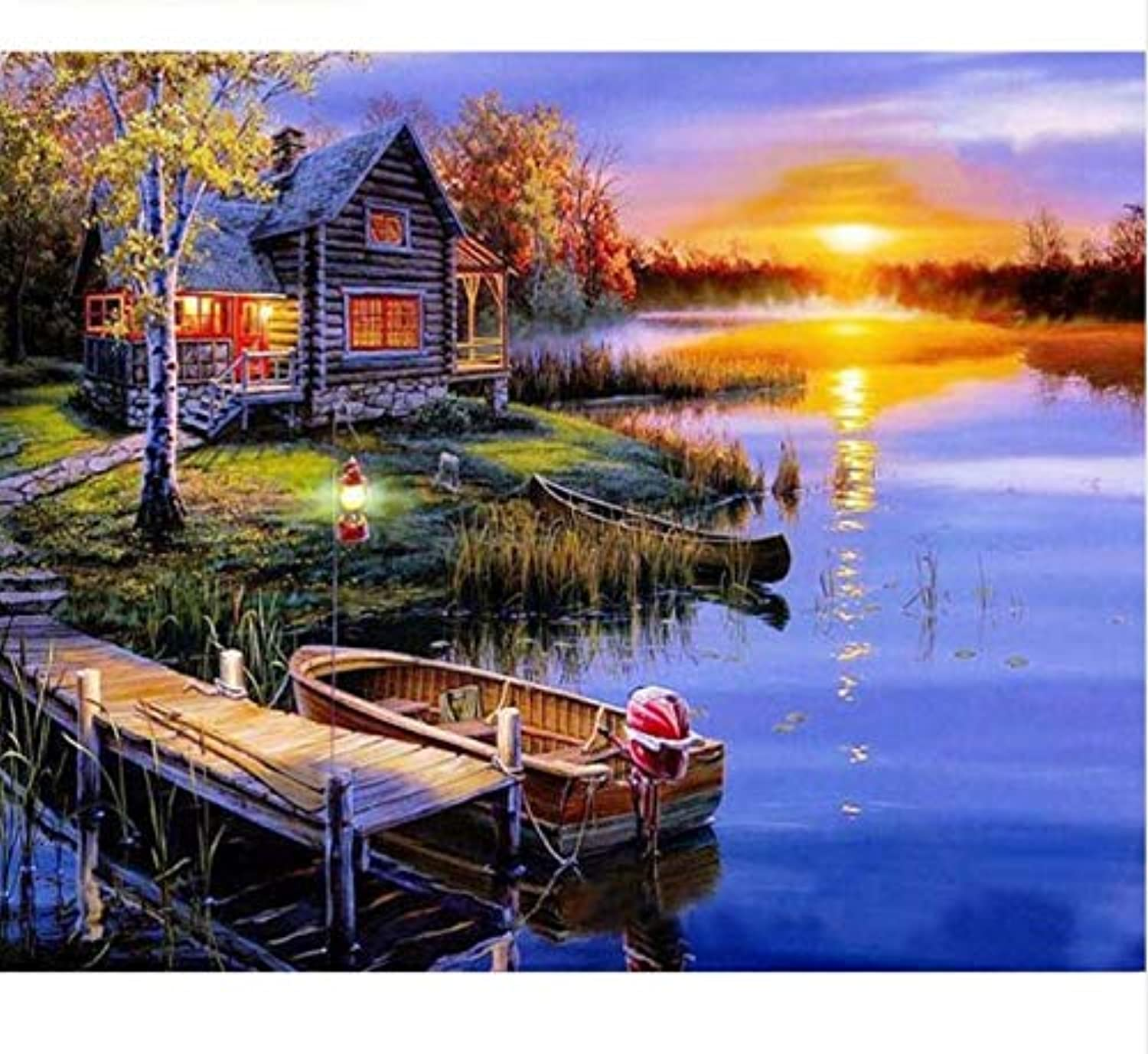 UPUPUPUP Sunset Village Diy Painting By Numbers Kit Modern Wall Art Picture Hand Painted Oil Painting For Home Decor Artworks,Tworidc550X70Cm Framed
