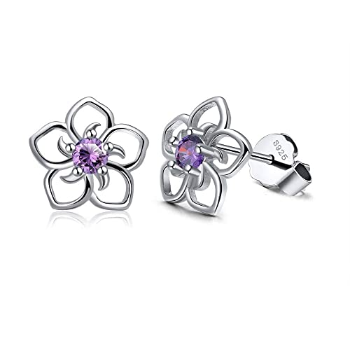 bfaed9d054 Sterling silver flower earrings with coloured stone centre - gorgeous  Christmas gift or stocking filler -
