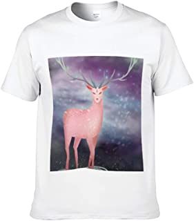 AILOVYO Short Sleeve T-Shirt for Men and Women Deer Pattern Black/White Round Neck Soft Cotton Casual T Shirt