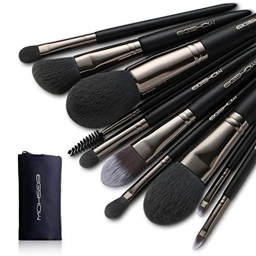 Ensemble de pinceaux de maquillage, EIGSHOW Pinceaux de maquillage 10pcs Professionnel Synthetic Vegan Bristles Foundation Blush Cosmetic Kit avec Poudre Brush Eye Brush