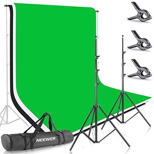 Neewer Foto Studio 2,6 X 3m Hintergrund Stativ Unterstützungssystem mit 1,8 X 2,8m Stoff Kulisse Weiß Schwarz Grün für Porträt Produkt Video Aufnahmen